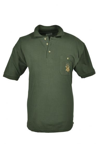 Poloshirt mit Rehbock oliv S | oliv